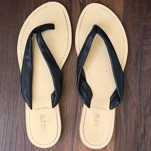 J. Crew genuine leather black tan flip flops